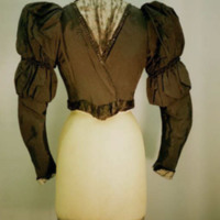 Back View of Black Faille Bodice with Front Inset