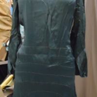 Front View of Teal Silk Dress