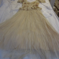 Flat back view of Ivory Silk Evening Dress with Floral Motif