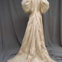 Back View of Ivory Silk Faille Gown with Bows