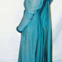 Side View of Teal Dress with Cream Lace
