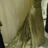 Side View of Evening Dress with One Shoe