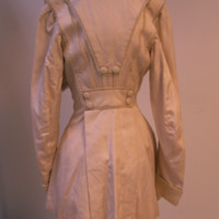 Back View of White Jacket with Cinched Waist