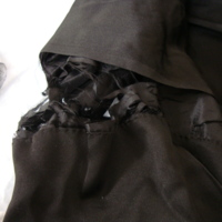 View of Condition of Black Silk Dress with Train