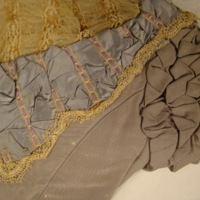 View of Condition of Gray Silk Evening Bodice with Lace