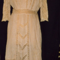 Front View of Brown and White Stripe Dress with Lace