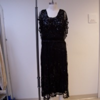 Front View of 1920's Black Dress with Sequins