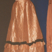 Front View of Beige Taffeta Skirt with Brown Trim