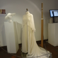 Scale View of Wedding Dress with Capelet and Hat of Karen Lipschutz Goodis and Cindy Lipschutz Jacobson