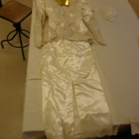 Front View of Satin Wedding Dress with Sequined Jacket