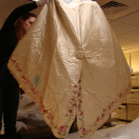 Back View of Ivory Silk Mantle with Floral Motif