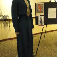 3/4 view of Royal Blue Silk Dress with Tails