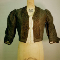 Front View of Black Taffeta Bodice with 3/4 sleeves