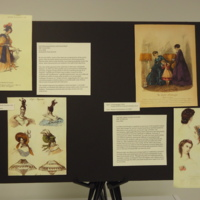 Photograph of exhibition poster for Gold Silk Jacquard Dress with Floral Motif and Teal Silk Tafetta Crinoline Ensemble