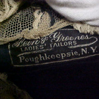 View of Label in Velvet Voat with Frogs and Lace