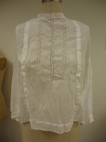 Front View of Sheer Cotton Blouse with Lace Insets