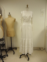 Front View of the Full Length White Cotton Dress with Lace Detailing