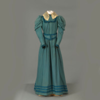 Rotating View of Teal Dress with Cream Lace