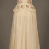 Rotating View of Ivory Silk Evening Dress with Floral Motif