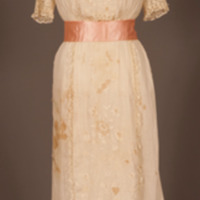 Rotating View of Cream Cotton Day Dress with Floral Embroidery