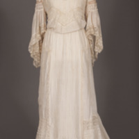Rotating View of Cream Silk and Lace Dress