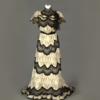 Rotating View of Cream and Black Printed Silk Dress with Black Lace