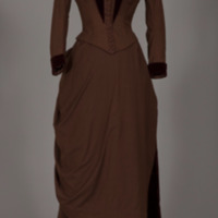 Rotating View of Brown Wool and Velvet Bustle Ensemble
