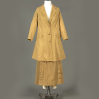 Rotating View of Khaki Twill Suit with Split Skirt
